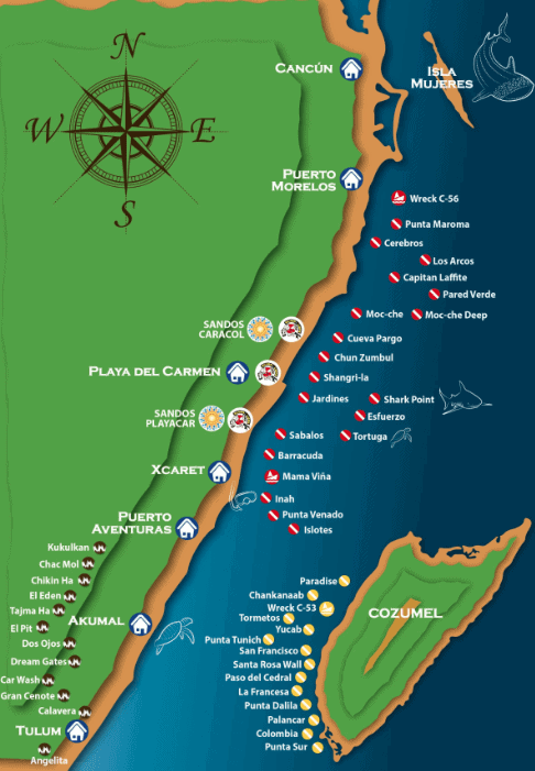 Tauchen in Playa del Carmen-map